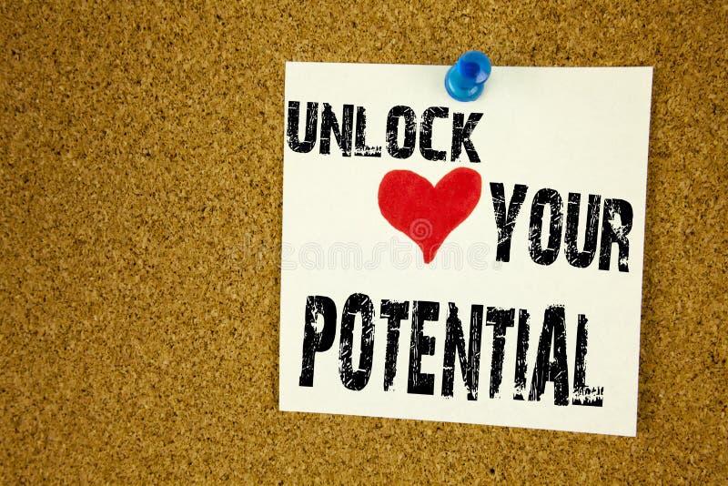 Konceptualny ręki writing teksta podpisu inspiraci seans Otwiera Twój potencjał Biznesowy pojęcie dla wzrost i rozwój writte obraz stock
