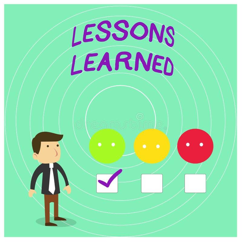 Konceptualny r?ki writing pokazuje lekcje Uczy? si? Biznesowa fotografia pokazuje informację odbija pozytyw i negatyw ilustracja wektor