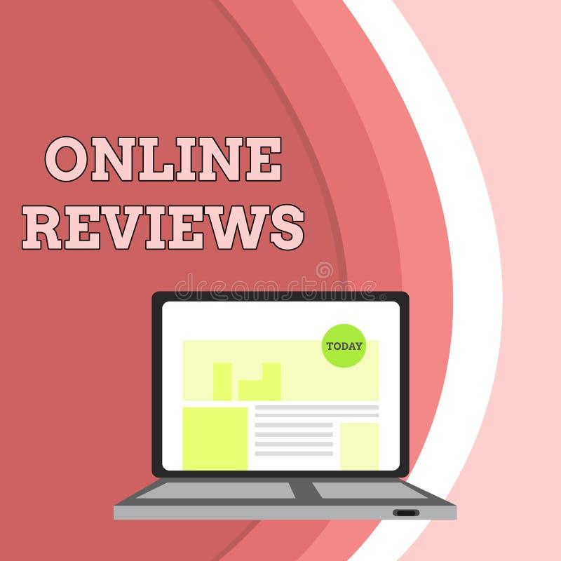 Konceptualny r?ki writing pokazuje Online przegl?dy Biznesowa fotografia pokazuje produktu cenienia klienta informacje zwrotne pu ilustracji