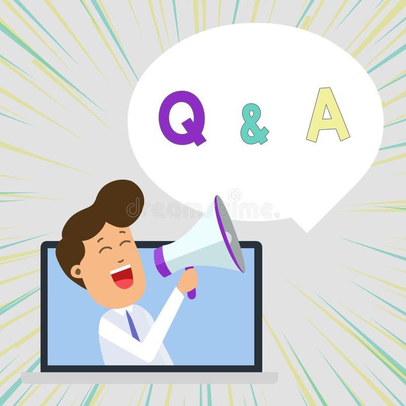 Konceptualny r?ki writing pokazuje Q i A Biznesowy fotografia tekst definiujący jak pytania pytamy i odpowiedzi Obsługujemy mówie royalty ilustracja