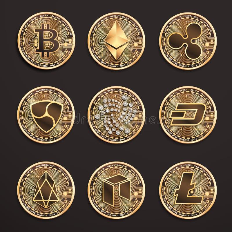 Konceptualny set cryptocurrencies Wektoru eps10 odosobniona ilustracja ilustracji