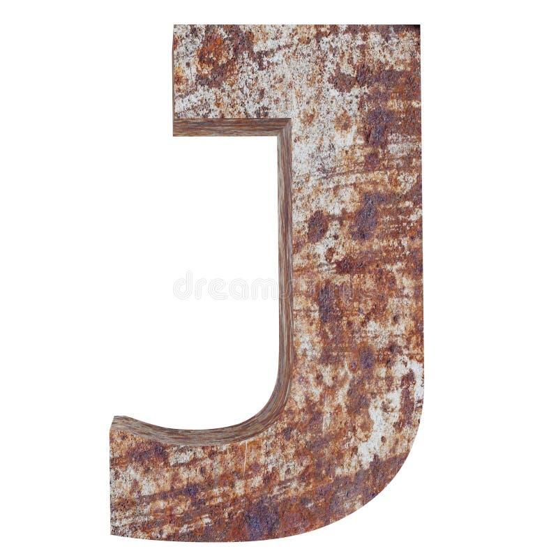 Konceptualny stary rdzewiejący meta kapitałowy list - J, żelaza lub stalowego przemysłu kawałek, odizolowywał białego tło Kształc royalty ilustracja