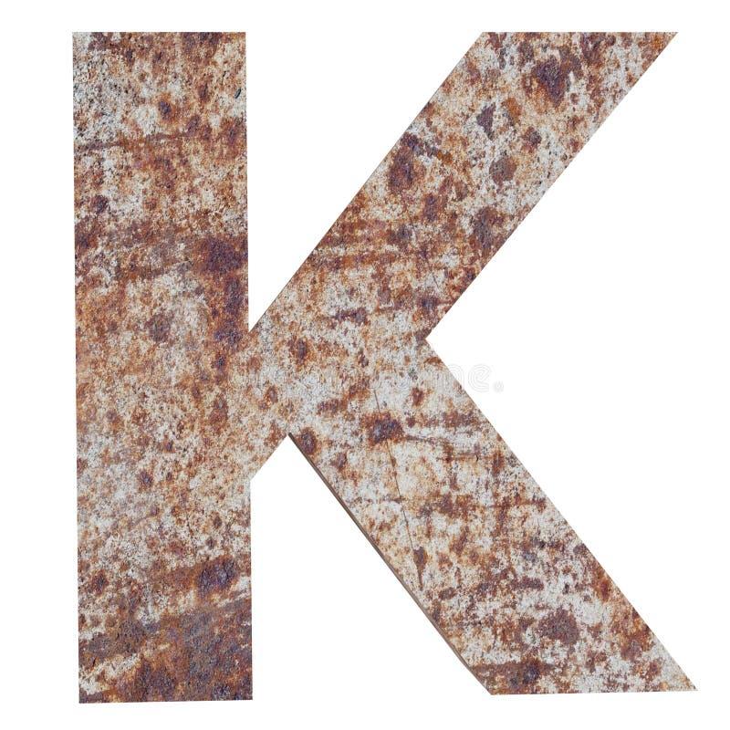 Konceptualny stary rdzewiejący meta kapitałowy list - K, żelaza lub stalowego przemysłu kawałek, odizolowywał białego tło Kształc ilustracja wektor