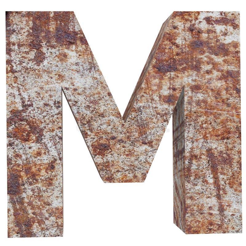 Konceptualny stary rdzewiejący meta kapitałowy list - M, żelaza lub stalowego przemysłu kawałek, odizolowywał białego tło Kształc ilustracji