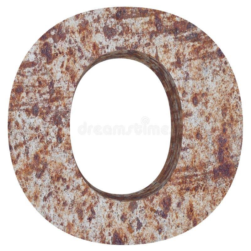 Konceptualny stary rdzewiejący meta kapitałowy list - O, żelaza lub stalowego przemysłu kawałek, odizolowywał białego tło ilustracji