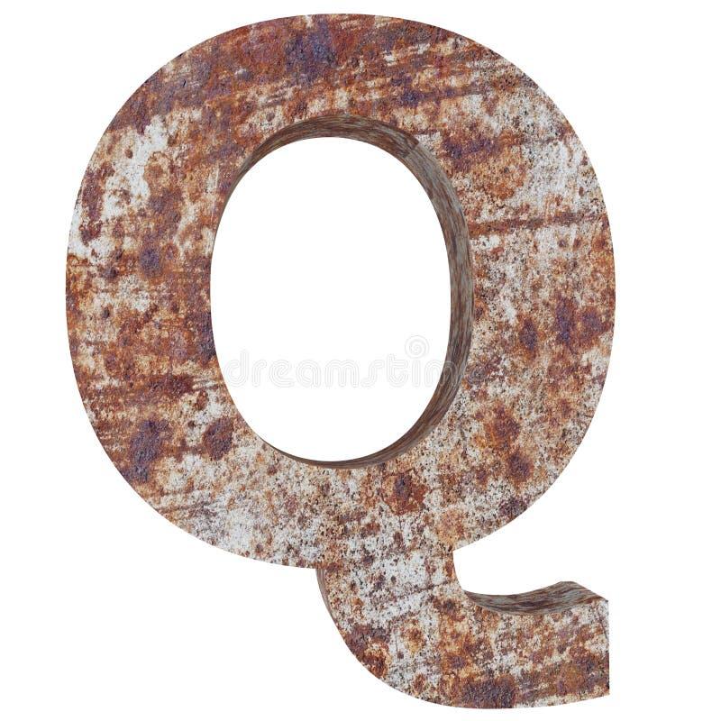 Konceptualny stary rdzewiejący meta kapitałowy list - Q, żelaza lub stalowego przemysłu kawałek, odizolowywał białego tło Kształc ilustracji