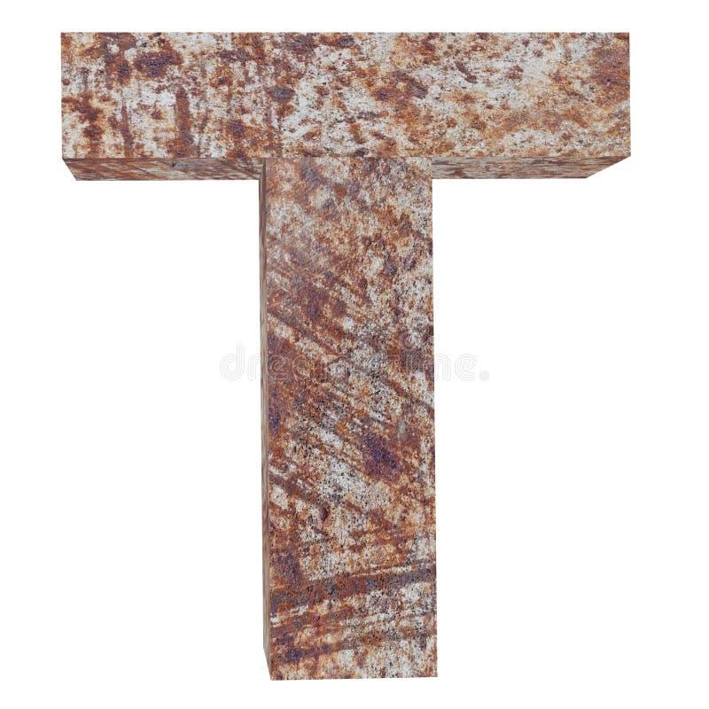 Konceptualny stary rdzewiejący meta kapitałowy list - T, żelaza lub stalowego przemysłu kawałek, odizolowywał białego tło Kształc royalty ilustracja