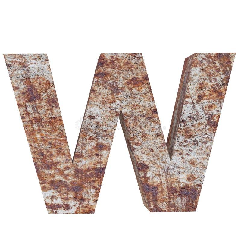 Konceptualny stary rdzewiejący meta kapitałowy list - W, żelaza lub stalowego przemysłu kawałek, odizolowywał białego tło Kształc royalty ilustracja