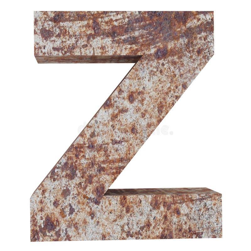 Konceptualny stary rdzewiejący meta kapitałowy list - Z, żelaza lub stalowego przemysłu kawałek, odizolowywał białego tło Kształc royalty ilustracja