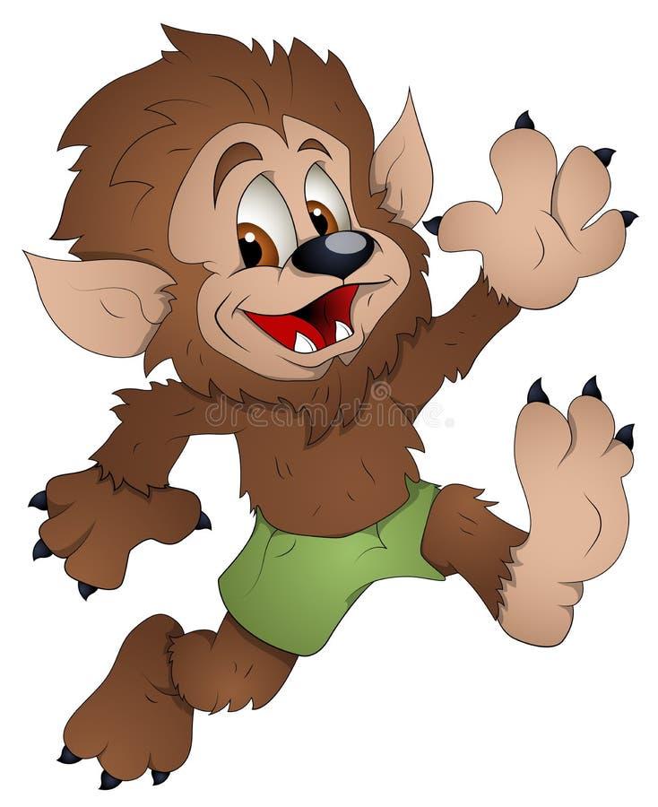 Śliczny wilkołak Wektorowa ilustracja - postać z kreskówki - ilustracja wektor