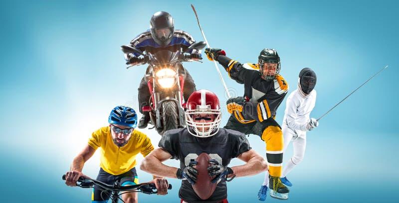Konceptualny wielo- sporta kolaż z futbolem amerykańskim, hokej, cyclotourism, fechtunek, motorowy sport zdjęcia royalty free