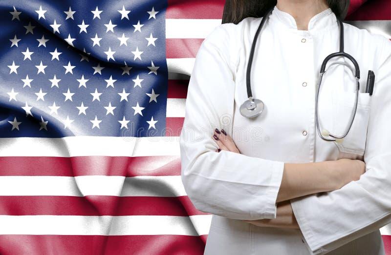 Konceptualny wizerunek krajowy system opieki zdrowotnej w Stany Zjednoczone Ameryka fotografia royalty free