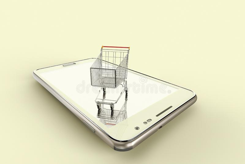 Konceptualny wizerunek online zakupy z urządzeniami przenośnymi ilustracja wektor