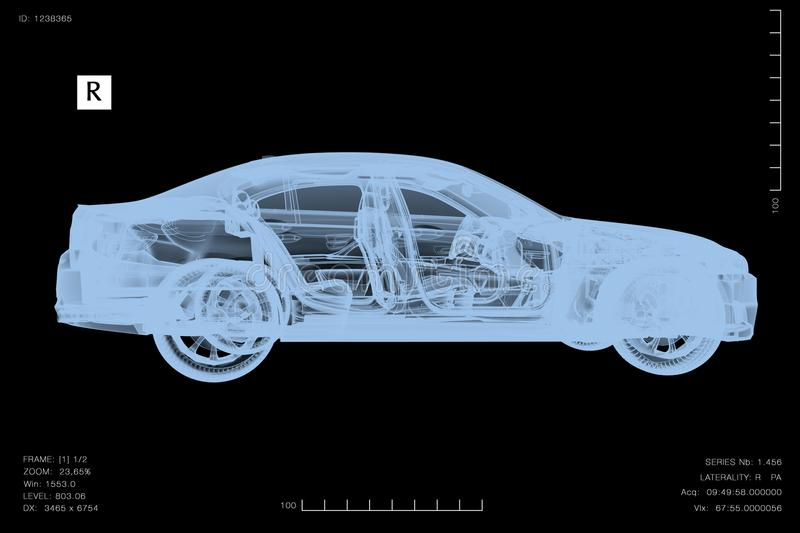 Konceptualny wizerunek samochód pod diagnozą z promieniowaniami rentgenowskimi ilustracji