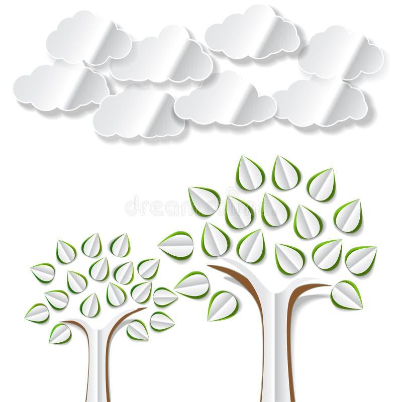 Konceptualny wizerunek z abstrakta papieru drzewami i chmurami ciącymi out ilustracja wektor