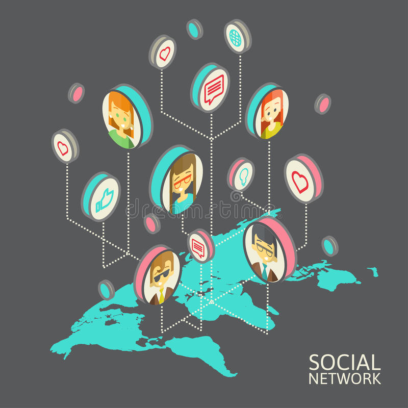 Konceptualny wizerunek z ogólnospołecznymi sieciami mieszkanie ilustracji