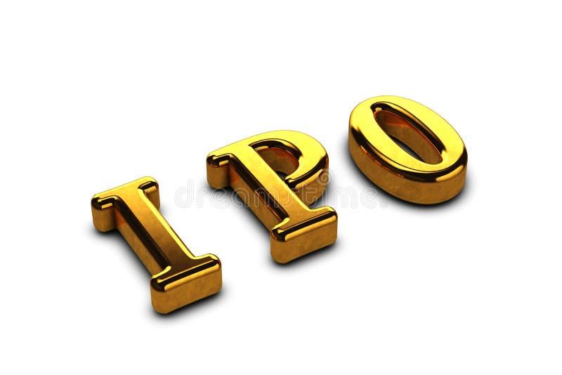 Konceptualny złoty skrót IPO - wstępna oferta publiczna odizolowywająca na białym tle z cieniami 3 d czyni? royalty ilustracja