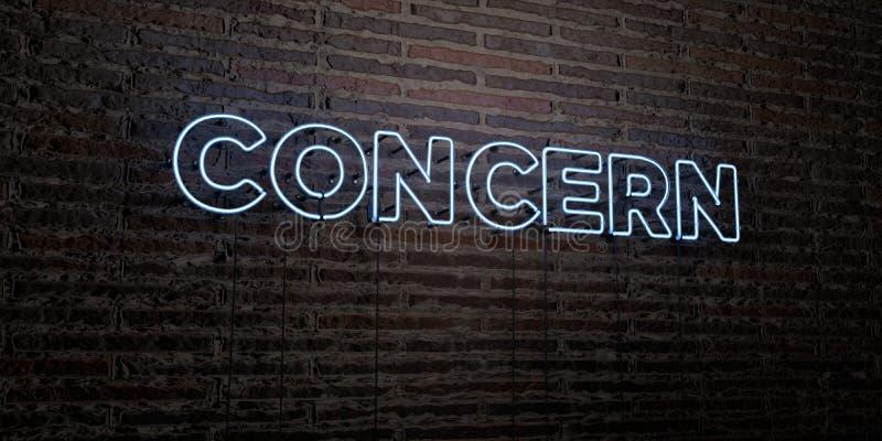 KONCERN - Realistyczny Neonowy znak na ściana z cegieł tle - 3D odpłacający się królewskość bezpłatny akcyjny wizerunek royalty ilustracja