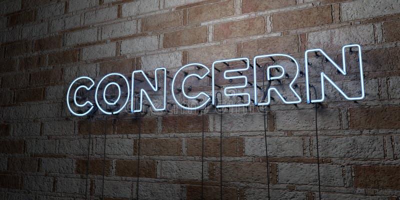 KONCERN - Rozjarzony Neonowy znak na kamieniarki ścianie - 3D odpłacająca się królewskości bezpłatna akcyjna ilustracja ilustracja wektor
