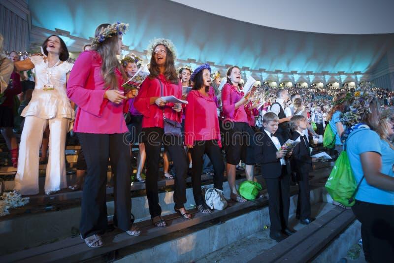 Koncert Latvian młodości piosenka tana świętowanie i zdjęcia royalty free
