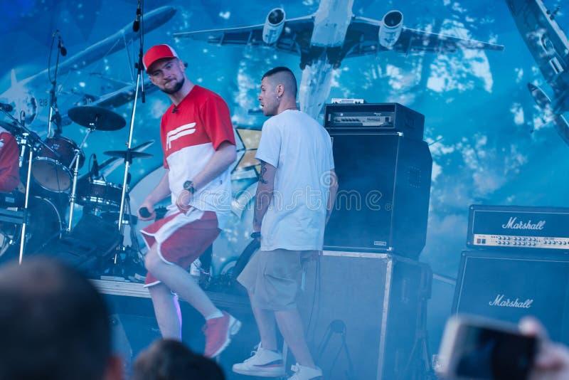 Koncert Ukraiński rap artysta Yarmak Maj 27, 2018 przy festiwalem w Cherkassy, Ukraina obraz stock