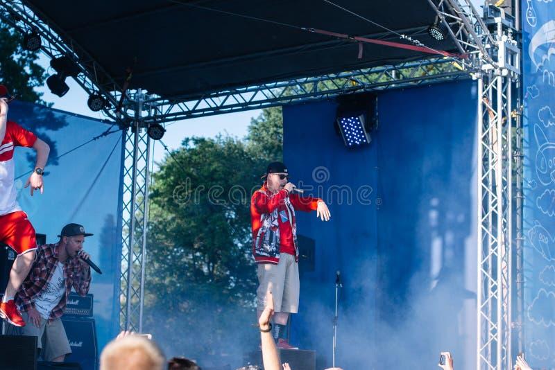 Koncert Ukrai?ski rap artysta Yarmak Maj 27, 2018 przy festiwalem w Cherkassy, Ukraina obrazy stock