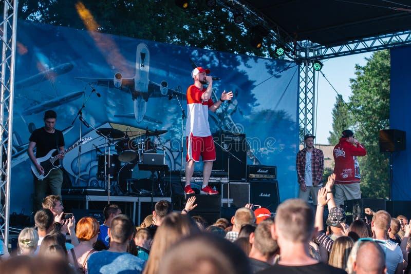 Koncert Ukrai?ski rap artysta Yarmak Maj 27, 2018 przy festiwalem w Cherkassy, Ukraina obraz royalty free