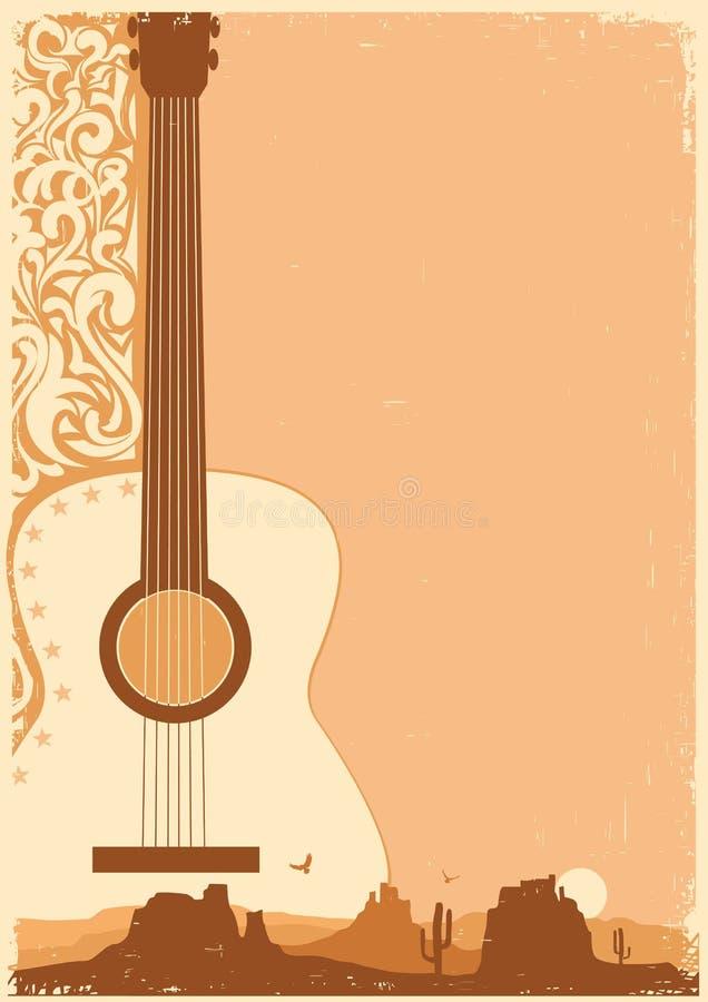 Koncertowej gitary plakatowy festiwal muzyki na ola papierze ilustracja wektor