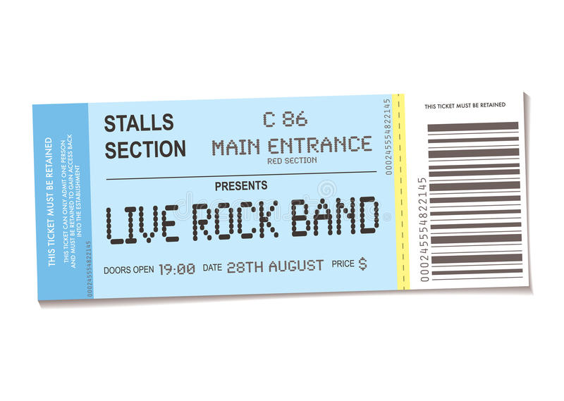 koncertowy bilet ilustracji