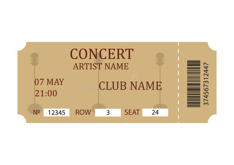 Koncertowy bilet Retro biletowy szablon odizolowywający na białym tle ilustracji