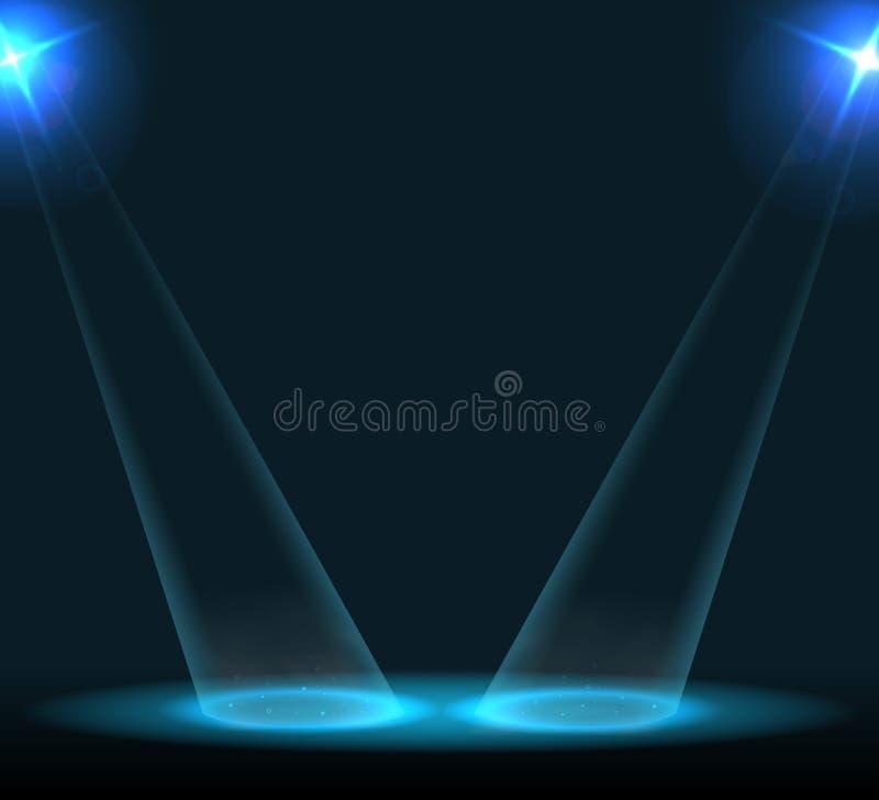 Koncertowy oświetlenie przeciw ciemnemu tłu ilustracja wektor