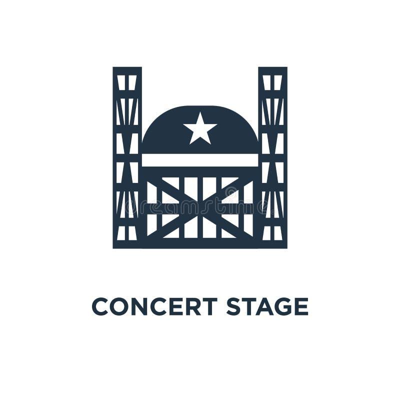 koncertowy scena wynajem usługuje ikonę mobilny podium pojęcia symbolu projekt, rozrywki przedstawienie, festiwal muzyki organiza royalty ilustracja