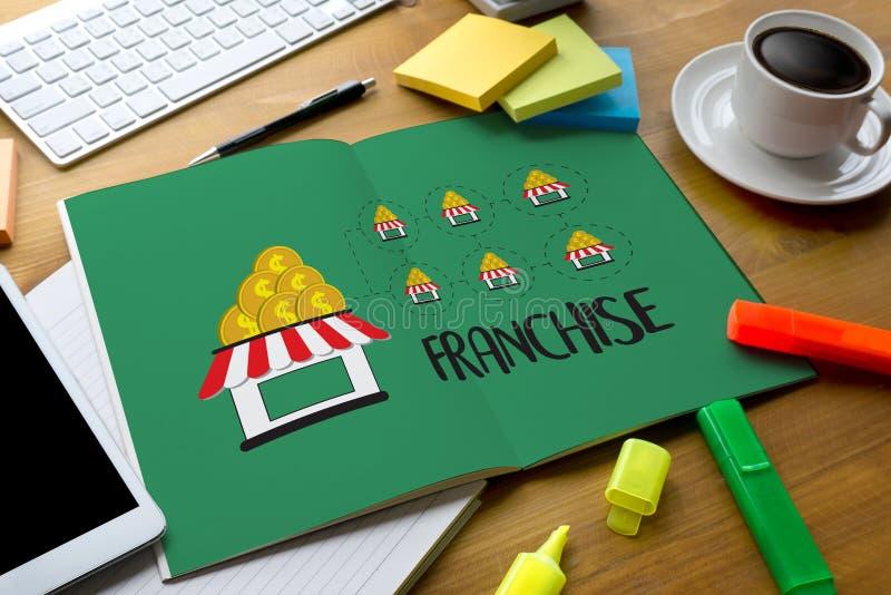 KONCESSIONmarknadsföring som brännmärker detaljhandel- och affärsarbetsbeskickning arkivbild