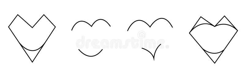 Koncis abstrakt uppsättning av svartvita hjärtor som isoleras på vit bakgrund vektor royaltyfri illustrationer