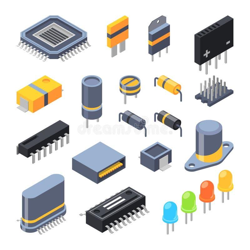 Kondensator, olika chiper, halvledare och elektriska delar stock illustrationer