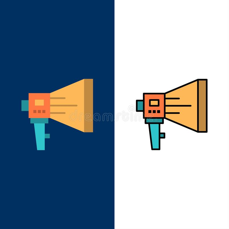 Kondig aan, Digitaal, Luidspreker, Marketing, Megafoon, Spreker, Hulpmiddelpictogrammen Vlak en Lijn vulde Pictogram Vastgestelde stock illustratie