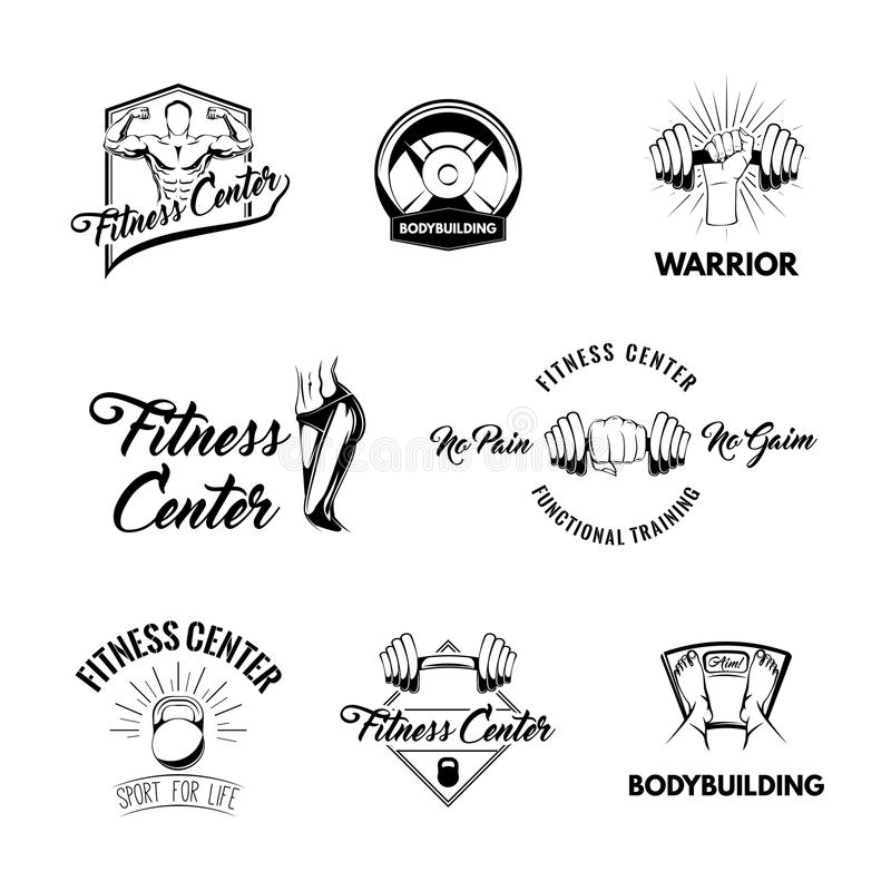 Kondition förser med märke logouppsättningen Idrottshallemblem Sportive diagram, skivstångskiva, Kettlebell, golvskala Bodybuildi royaltyfri illustrationer