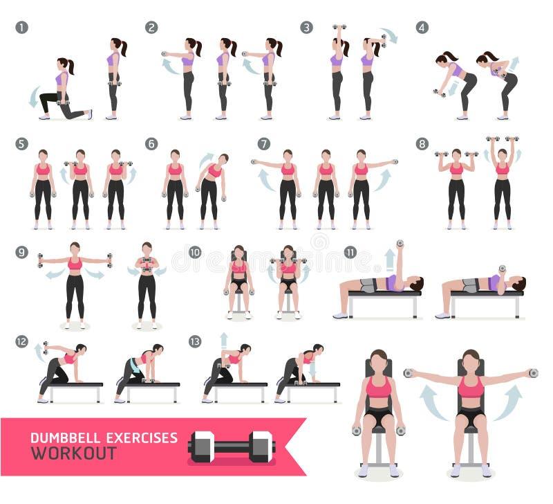 Kondition och övningar för kvinnahantelgenomkörare stock illustrationer