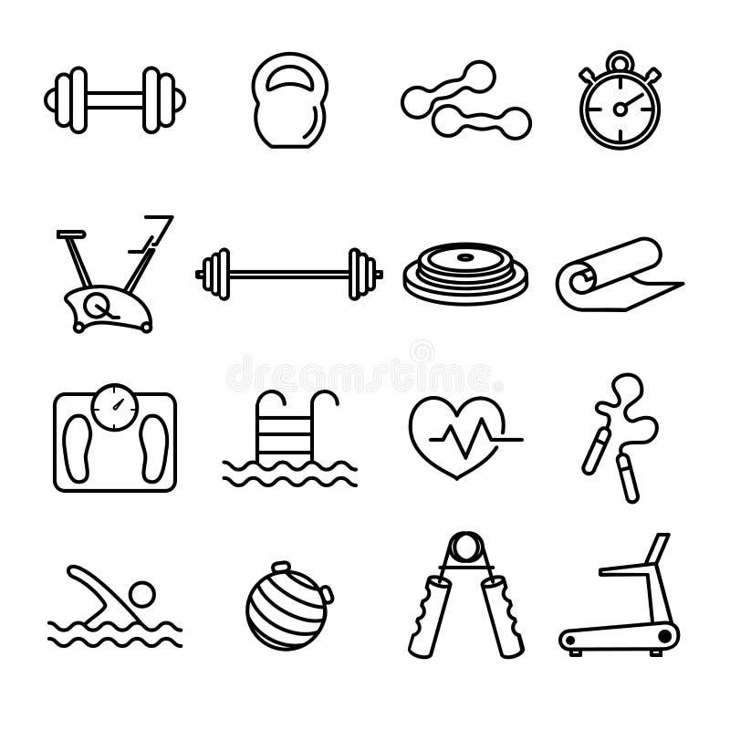 Kondition- och idrottshalllinjen tunna svarta symboler ställde in royaltyfri illustrationer