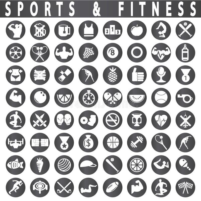 Kondition- och sportsymboler stock illustrationer