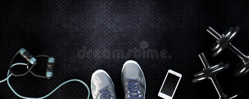 Konditionbakgrund med hantlar och smartphonen vektor illustrationer