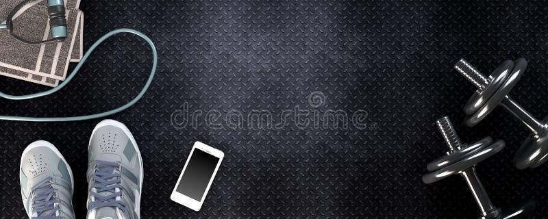 Konditionbakgrund med hantlar och smartphonen royaltyfri illustrationer