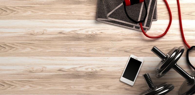 Konditionbakgrund med hantlar och smartphonen ovanför sikt stock illustrationer