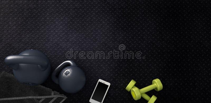 Konditionbakgrund med kettlebells och smartphonen stock illustrationer