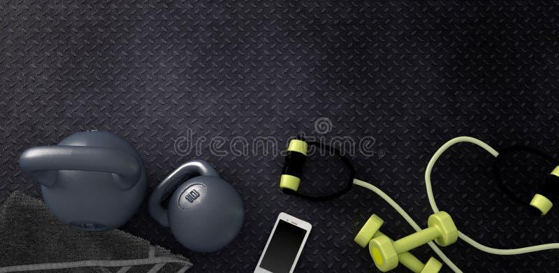 Konditionbakgrund med kettlebells och smartphonen vektor illustrationer