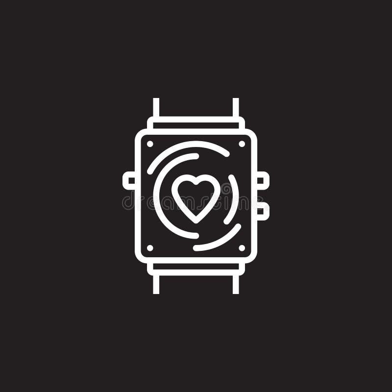 Konditionbogserarelinje symbol, tecken för smartwatchöversiktsvektor, linjär pictogram som isoleras på svart royaltyfri illustrationer