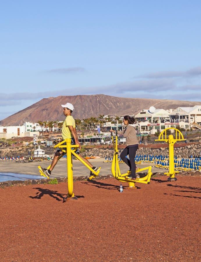 Konditionfläck i Playa Blanca, Lanzarote royaltyfria bilder