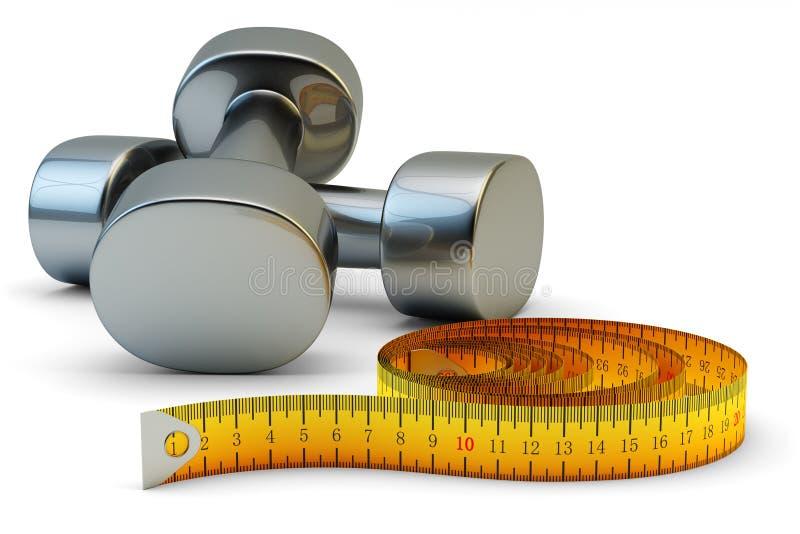 Konditiongenomkörare och att banta övningar och begrepp för utbildning för viktförlust stock illustrationer