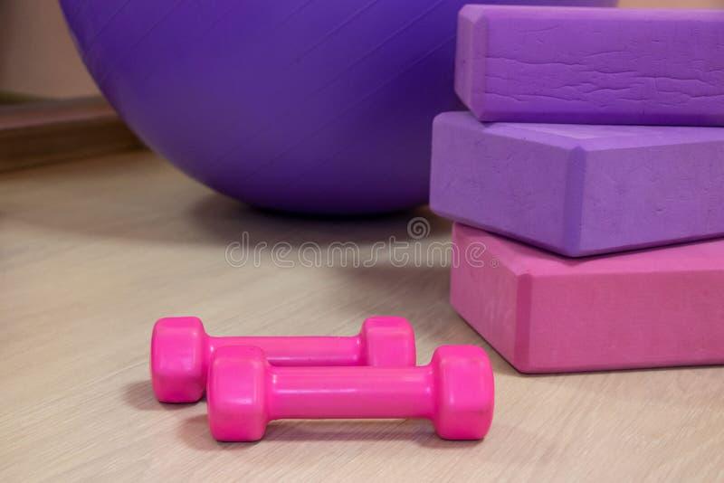 Konditionhj?lpmedel - klumpa ihop sig, rosa och purpurf?rgade kuber och hantlar, sportbegrepp fotografering för bildbyråer