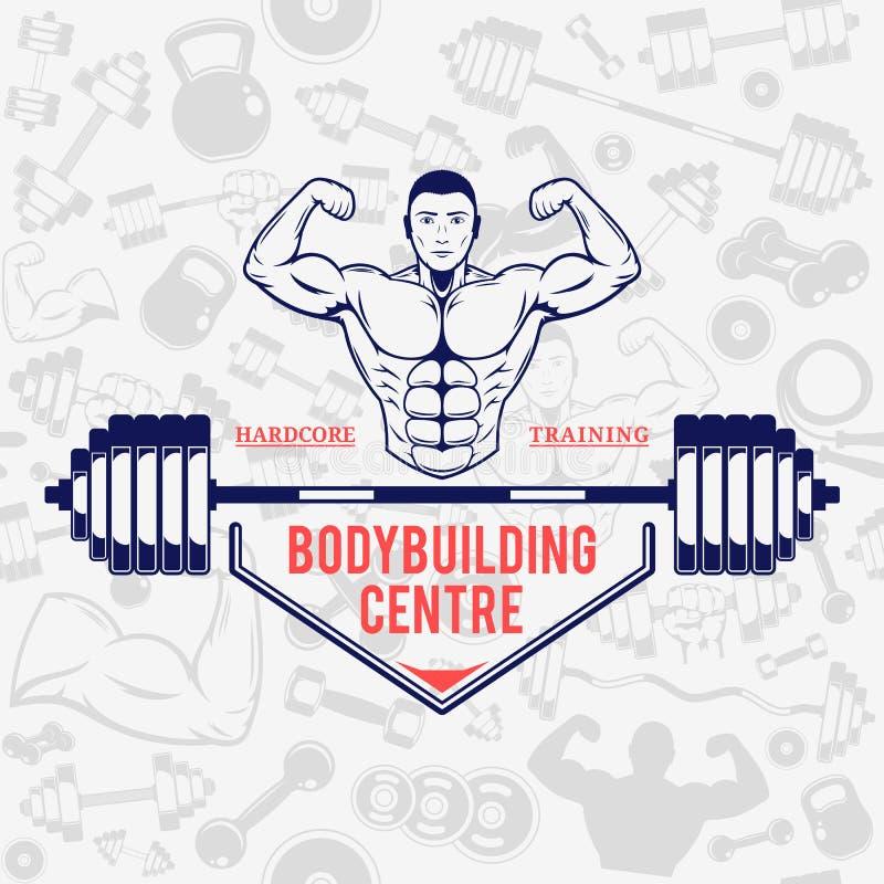 KonditionidrottshallLogo Template Over Fitness Icons sömlös modell vektor illustrationer